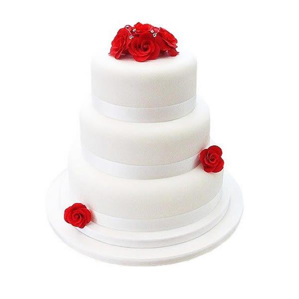 Elegant Red Rose Wedding Cake
