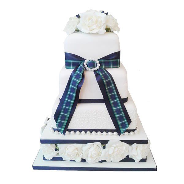 Tartan Rose Wedding Cake